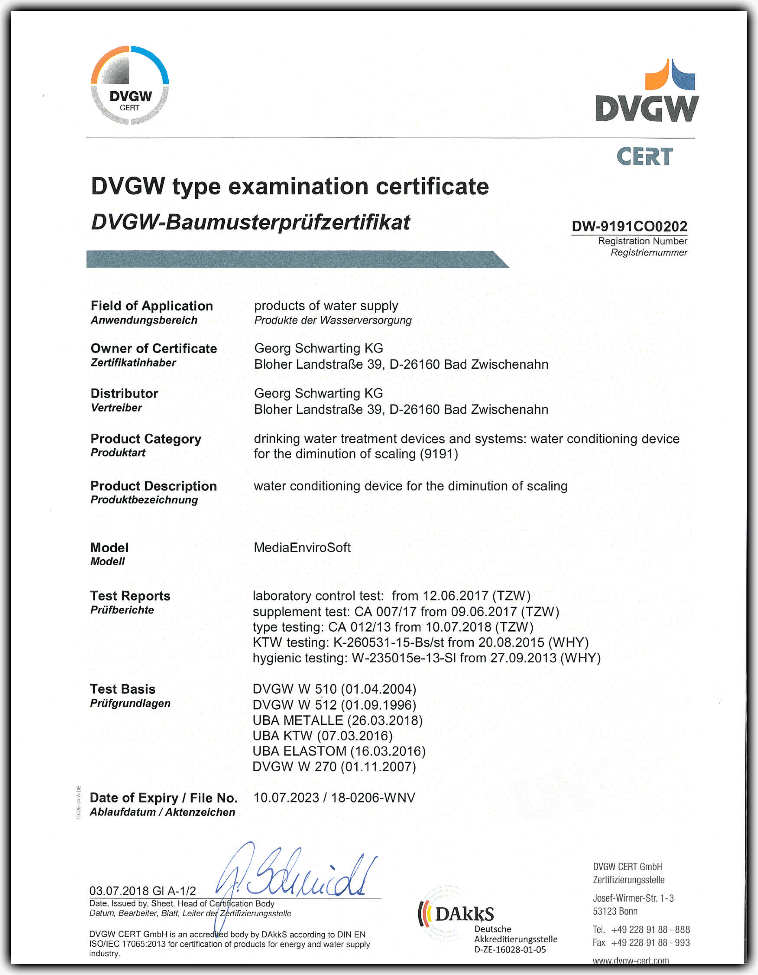 Dvgw Certification Enviro Water Productsenviro Water Products